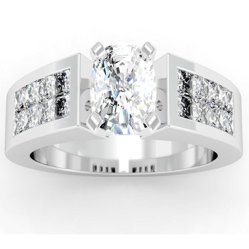 California Coast Designs Invisible Princess Cut Diamond Engagement Ring