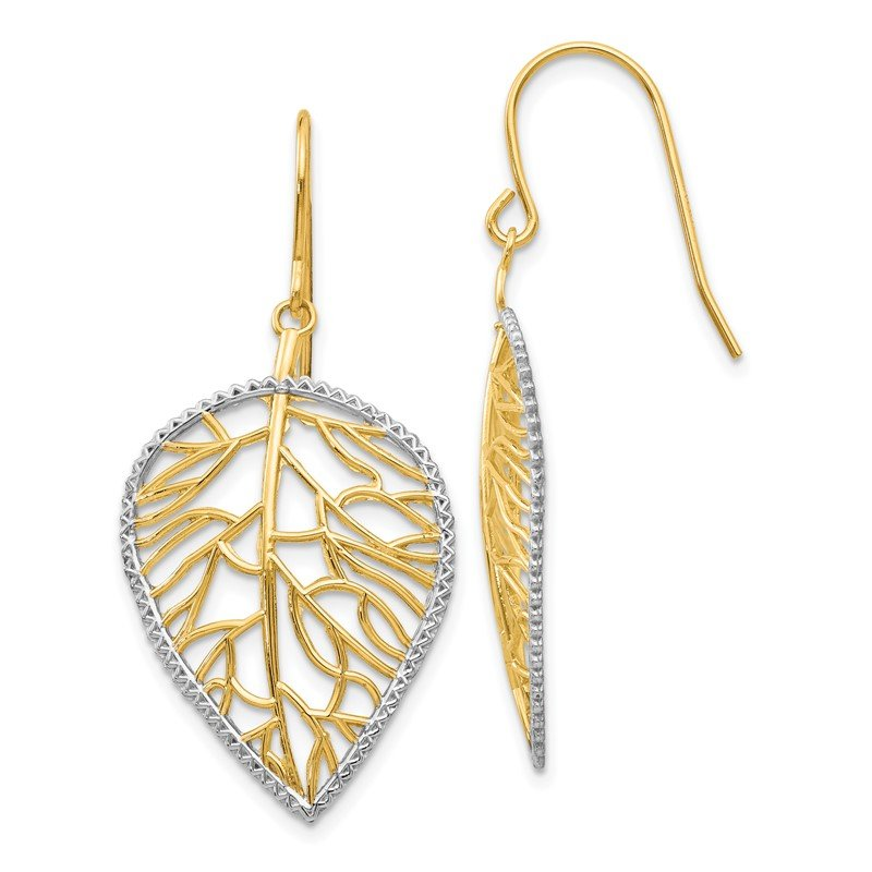 Quality Gold 14k & Rhodium Leaf Drop Earrings