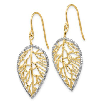 14k & Rhodium Leaf Drop Earrings