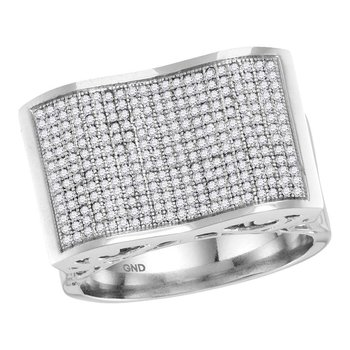 10kt White Gold Mens Round Pave-set Diamond Rectangle Concave Cluster Ring 3/4 Cttw