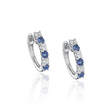 Bold Beauty Alternating Sapphire and Diamond Hoops