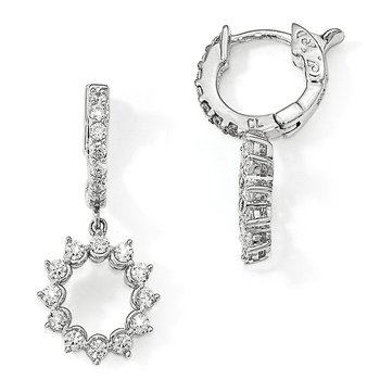 Sterling Silver Polished CZ Circle Hinged Hoop Dangle Earrings