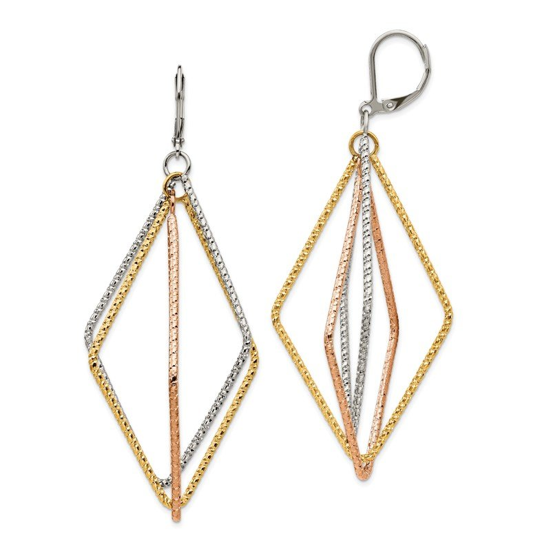 Chisel Stainless Steel Polished and Textured Yellow & Rose IP Leverback Earrings