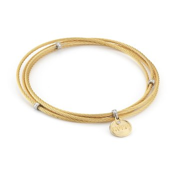 Yellow Cable Affirmation Bangle with Diamond Hope Charm