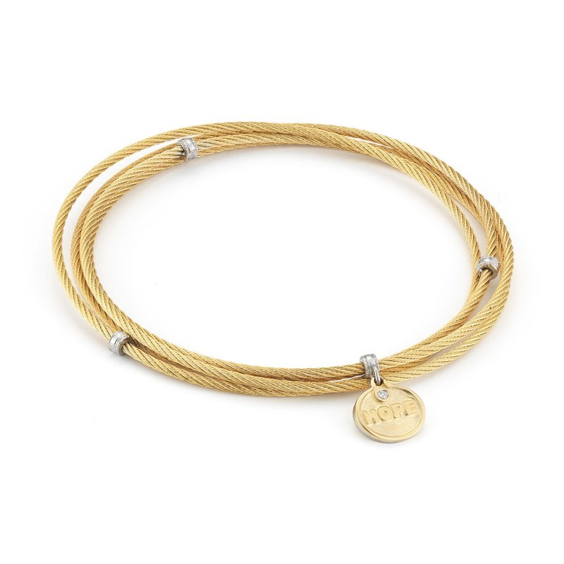 ALOR Yellow Cable Affirmation Bangle with Diamond Hope Charm