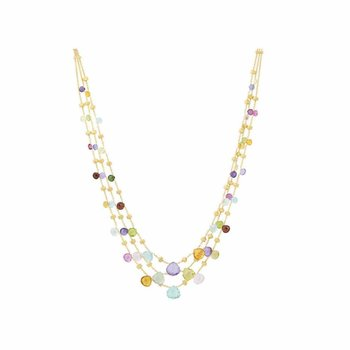 Paradise Mixed Stone Graduated Three Strand Necklace