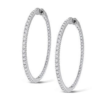 Diamond Inside Outside Hoop Earrings in 14k White Gold with 100 Diamonds weighing 2.55ct tw.