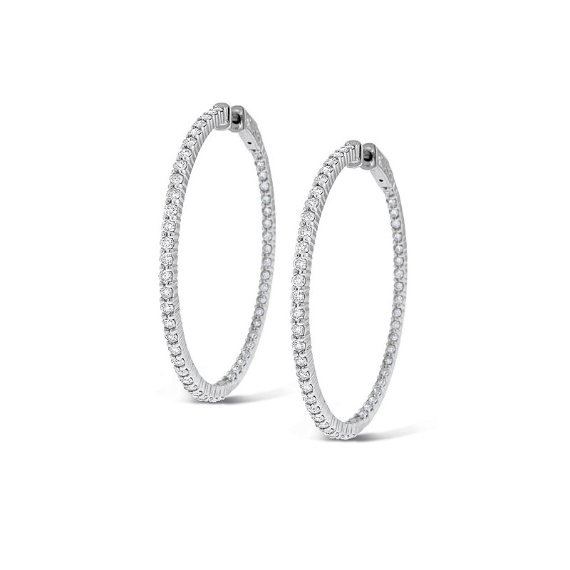 KC Designs Diamond Inside Outside Hoop Earrings in 14k White Gold with 100 Diamonds weighing 2.55ct tw.