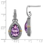 Shey Couture Sterling Silver w/14k Antiqued Amethyst Post Dangle Earrings