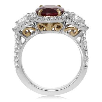 Platinum Ruby & Diamond Side Stone Ring