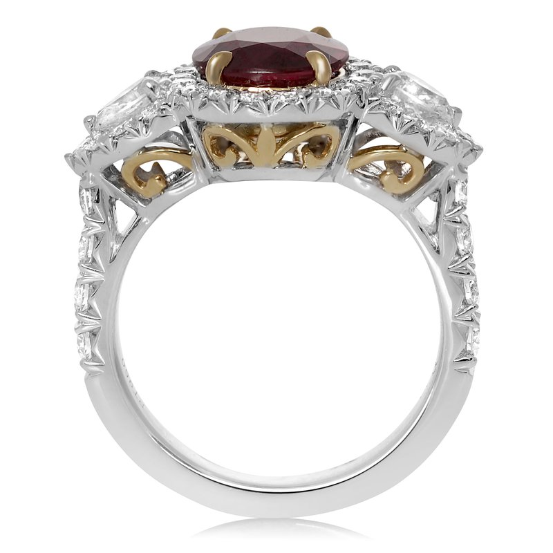 Roman & Jules Platinum Ruby & Diamond Side Stone Ring