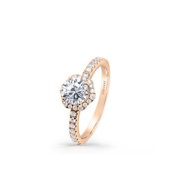Halo Floral Diamond Shank Engagement Ring