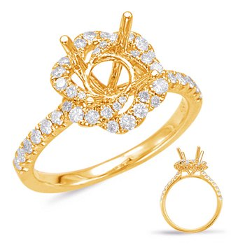 Yellow Gold Halo Engagement Ring