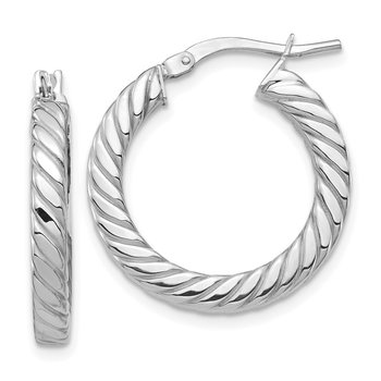 14k White Gold Polished Twisted 3mm Hoop Earrings
