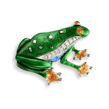 Sterling Silver Brooch-Frog -Green-White Sapphire