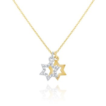 14k Gold and Diamond Double Star of David Necklace