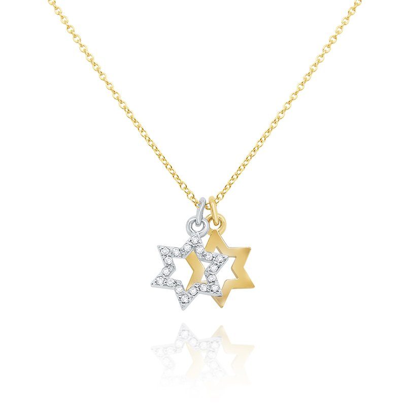 MAZZARESE Fashion 14k Gold and Diamond Double Star of David Necklace