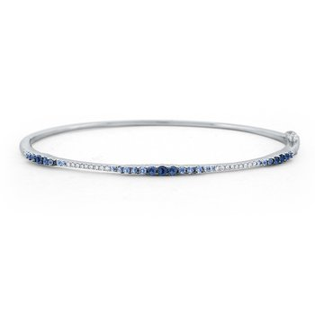 Blue Sapphire & Diamond Ombre Bangle Set in 14 Kt. Gold