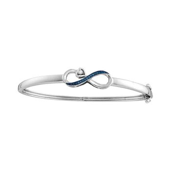 10kt White Gold Womens Round Blue Color Enhanced Diamond Infinity Bangle Bracelet 1/20 Cttw