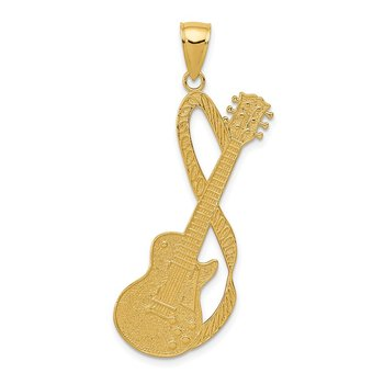 14k Large Guitar w/Strap Textured Pendant