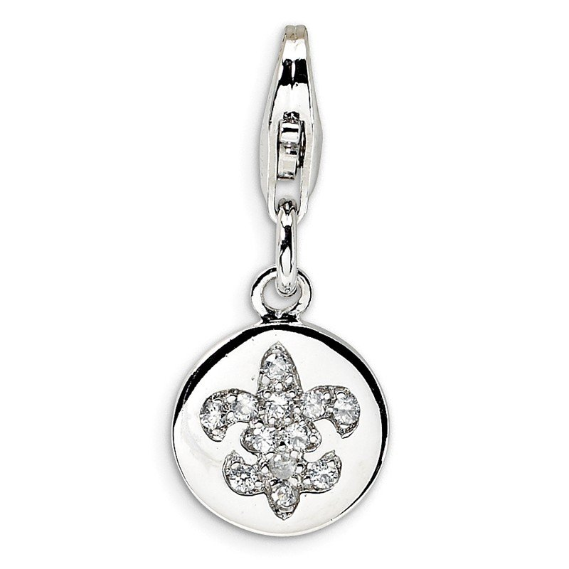 Quality Gold Sterling Silver CZ Fleur de Lis Ornament w/Lobster Clasp Charm