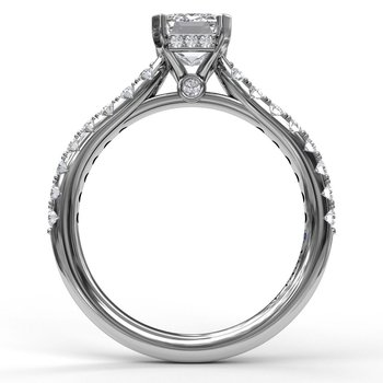 Emerald Cut Solitaire With Hidden Halo