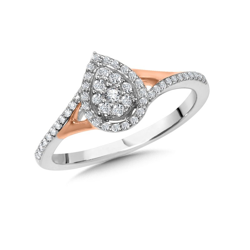 SDC Creations Pear-Shaped Split Shank Cluster Diamond Halo Engagement Ring