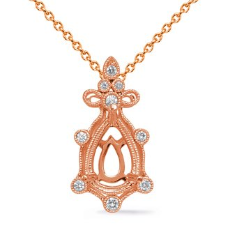 Rose Gold Diamond Pendant 9x6 Pearshape