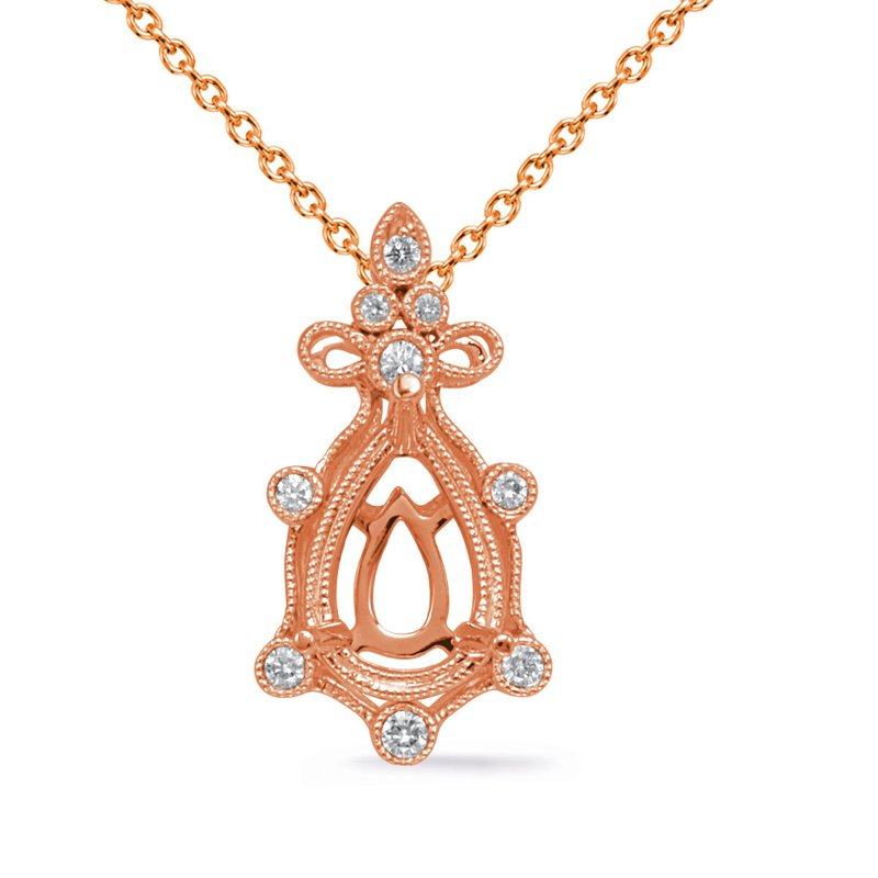 S. Kashi  & Sons Rose Gold Diamond Pendant 9x6 Pearshape
