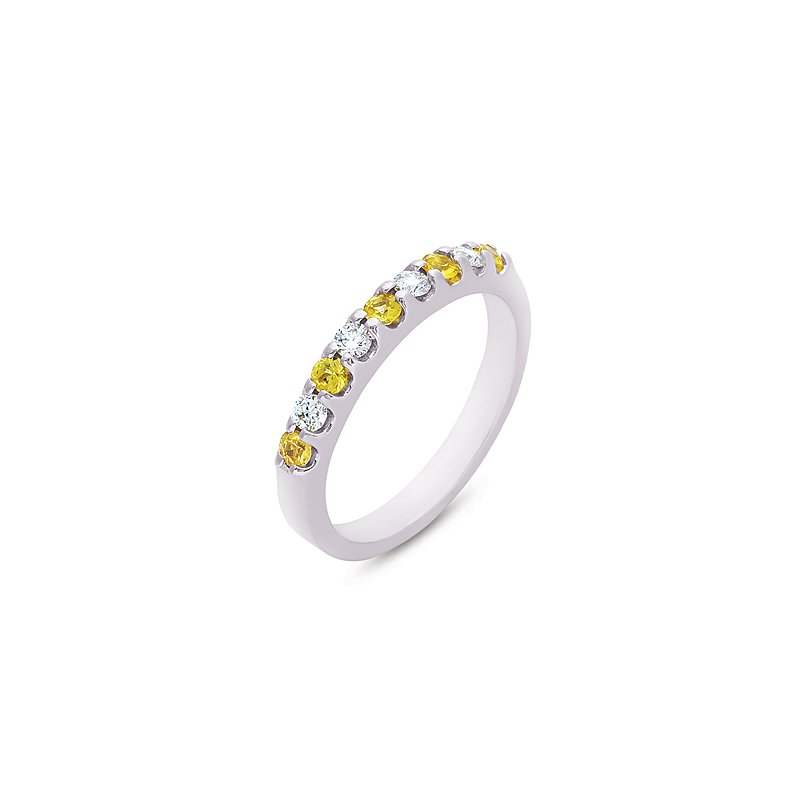 S. Kashi  & Sons Yellow Sapphire & Diamond Band