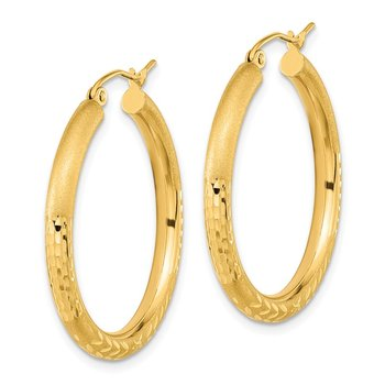 14k Polished Satin and Diamond-cut Hoop Earrings