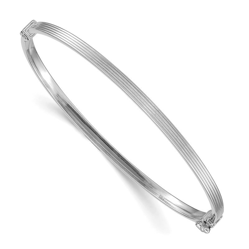 Quality Gold 14k White Gold Polished Textured Hinged Bangle Bracelet