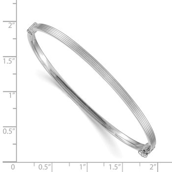 14k White Gold Polished Textured Hinged Bangle Bracelet