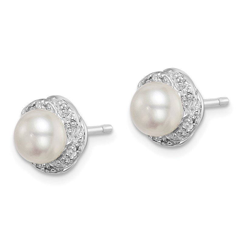 Quality Gold Sterling Silver Rhodium FW Cultured Pearl & Diamond Post Earrings