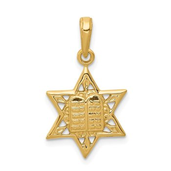 14K Star of David w/Tablets in Center Pendant