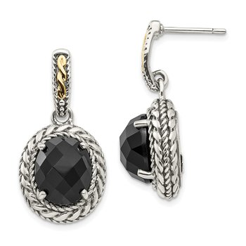 Sterling Silver w/14k Antiqued Onyx Post Dangle Earrings