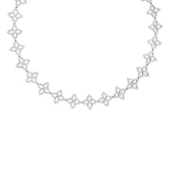 18K Diamond Outline Medium All Around Flower Necklace