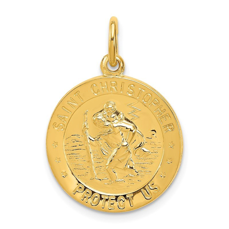 Quality Gold 24k Gold-plated Sterling Silver Saint Christopher Medal
