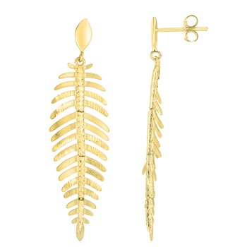 14K Gold Fancy Leafy Earrings