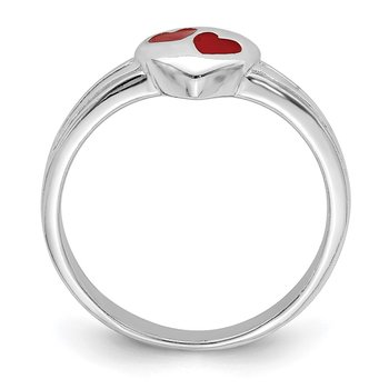 Sterling Silver RH Plated Child's Red Enameled Heart Ring