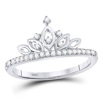 10kt White Gold Womens Round Diamond Crown Tiara Band Ring 1/6 Cttw