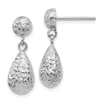Leslie's 10k White Gold Diamond-cut Post Dangle Earrings