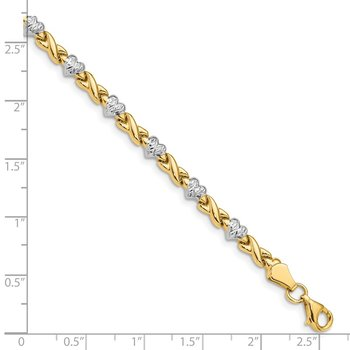 14k Rhodium Polished Heart & X Bracelet
