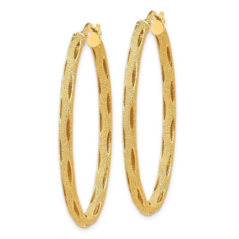 Leslie's Leslie's 14K Laser Textured Oval Hoop Earrings