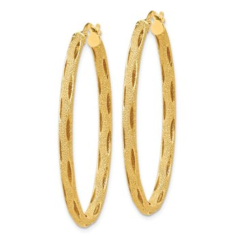 Leslie's 14K Laser Textured Oval Hoop Earrings