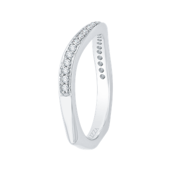 18K White Gold Diamond Wedding Band with Euro Shank