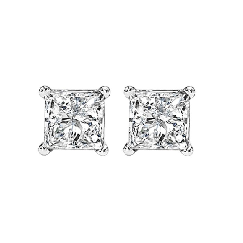 Gemsone 14K P/Cut Diamond Studs 3/4 ctw P2