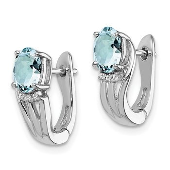 Sterling Silver Rhodium Plated Dia. Aquamarine Hinged Earrings