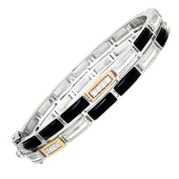 18kt and Sterling Silver Onyx & Diamond Bangle
