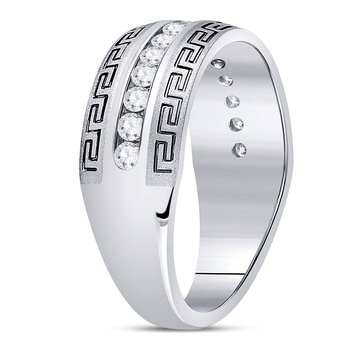 14kt White Gold Mens Round Diamond Greek Key Single Row Wedding Band Ring 1/2 Cttw
